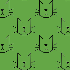 Cat Faces on Green