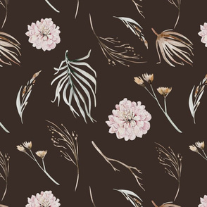 Vintage flower watercolor beige design.  Boho wild flower meadow 2
