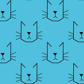 Cat Faces on Blue