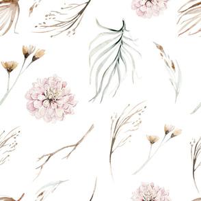 Vintage flower watercolor beige design.  Boho wild flower meadow 4