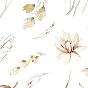 Vintage flower watercolor beige design.  Boho wild flower meadow 5