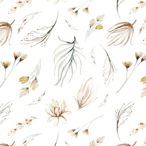 Vintage flower watercolor beige design.  Boho wild flower meadow 6