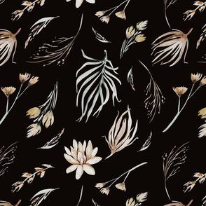 Vintage flower watercolor beige design.  Boho wild flower meadow 7