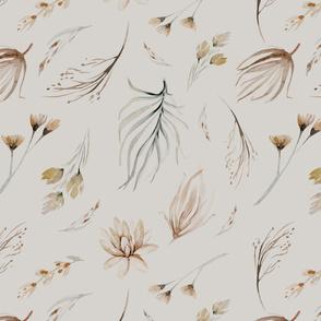 Vintage flower watercolor beige design.  Boho wild flower meadow 8