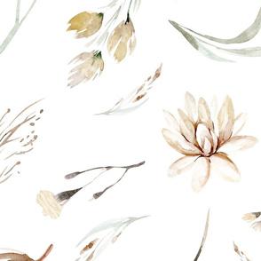 Vintage flower watercolor beige design.  Boho wild flower meadow 9