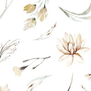Vintage flower watercolor beige design.  Boho wild flower meadow 10