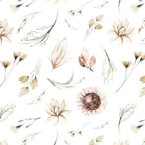 Vintage flower watercolor beige design.  Boho wild flower meadow 11