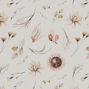 Vintage flower watercolor beige design.  Boho wild flower meadow 12