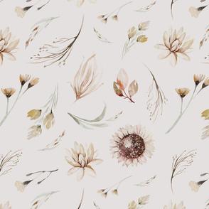 Vintage flower watercolor beige design.  Boho wild flower meadow 13