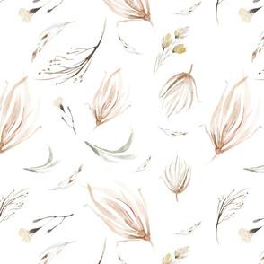 Vintage flower watercolor beige design.  Boho wild flower meadow 15