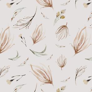 Vintage flower watercolor beige design.  Boho wild flower meadow 16