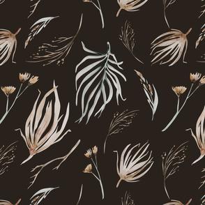 Vintage flower watercolor beige design.  Boho wild flower meadow 17