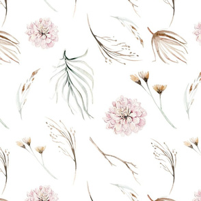 Vintage flower watercolor beige design.  Boho wild flower meadow 18