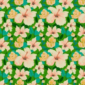 Tropical Spring  Hibiscus - green