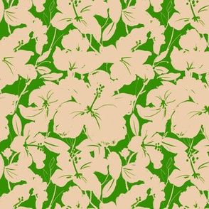 Hibiscus Silhouette - green and cream