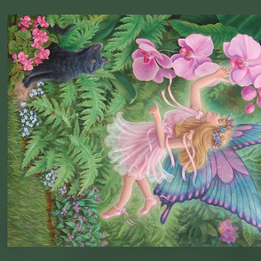Fairy in Garden with Cat, Painted Quilt Panel Fat Quarter