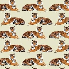 Tigers on cream  - small scale