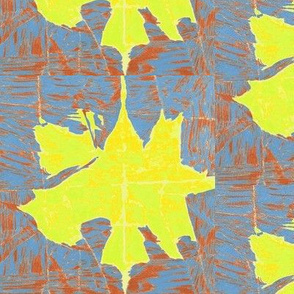 Large Crushed Yellow Leaf on Slate and Rust -half drop