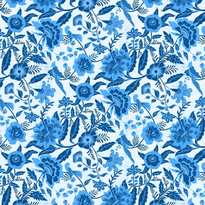 Vintage Botanical Chintz Filigree- Classic Blue Traditional Florals Palampore- Regular Scale
