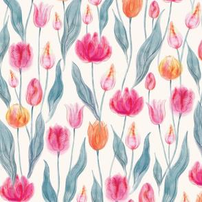 Transparent watercolor Tulips