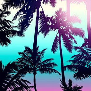 Sunset Palm / Pink Turquoise Ombre Background / Large Scale