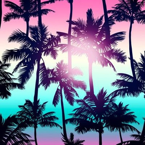 Sunset Palm / Pink Turquoise Ombre Background / Small Scale