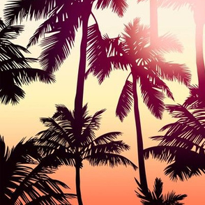 Sunset Palm / Orange Yellow Ombre Background / Large Scale