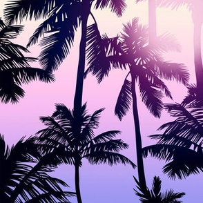 Sunset Palm / Purple Pink Ombre Background / Large Scale