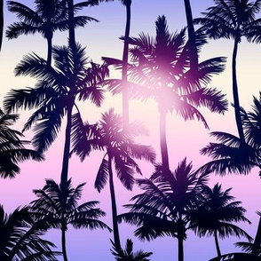 Sunset Palm / Purple Pink Ombre Background / Small Scale
