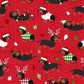 Dachshund Christmas Red