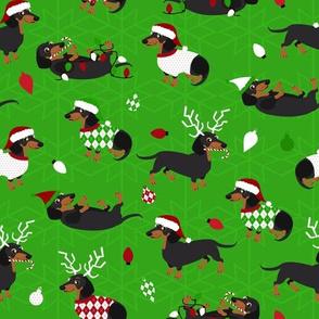 Dachshund Christmas Green