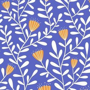 Flower vine - orange on blue - large scale