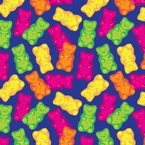 Gummy Bears on Royal BLue