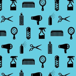 Salon & Barber Hairdresser Pattern in Black with Aquamarine Blue Background