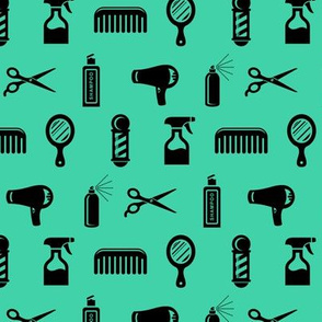 Salon & Barber Hairdresser Pattern in Black with Teal Green Background