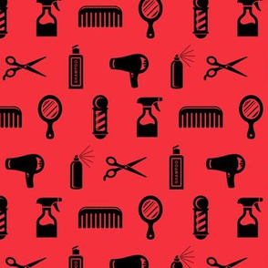 Salon & Barber Hairdresser Pattern in Black with Coral Red Background