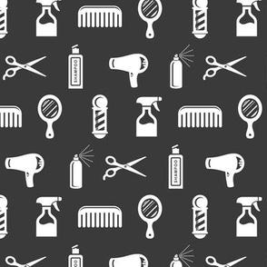 Salon & Barber Hairdresser Pattern in White with Dark Gray Background