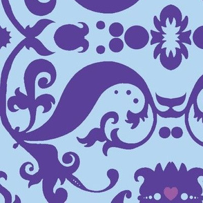Damask in blue and purple