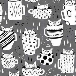 Kitty Cats in Cups - Grey