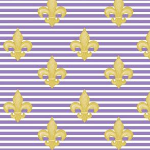 Yellow Fleur de Lis  Lt Purple Stripe
