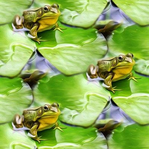 bullfrog on waterlily - painting effect - small