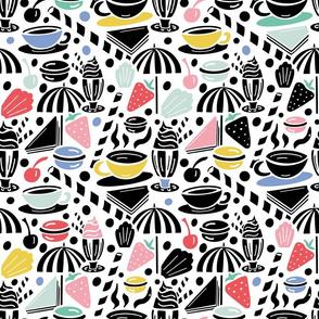 Summer cafe - black and pastel