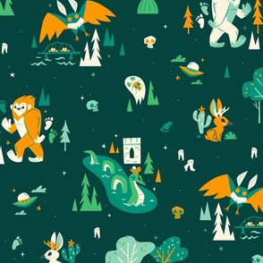 Cryptid Cuties (Large on Green)
