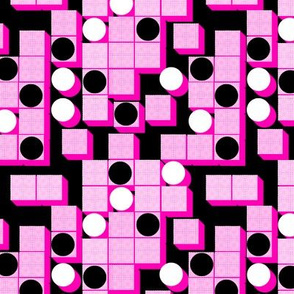 Circles and Squares//Pink On Black