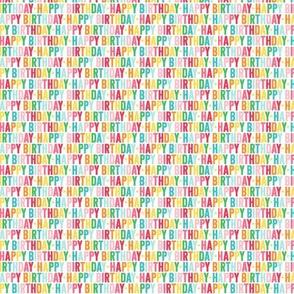 happy birthday ULTRA small rainbow UPPERcase