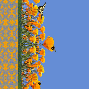 California Poppies & Butterflies Border Print
