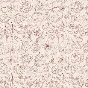 Burgundy Magnolia Pattern