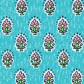 Indian Flower-Turquoise & Pink