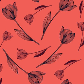 Bold Tulips - coral & navy