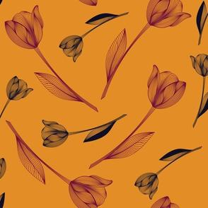Bold Tulips - marigold